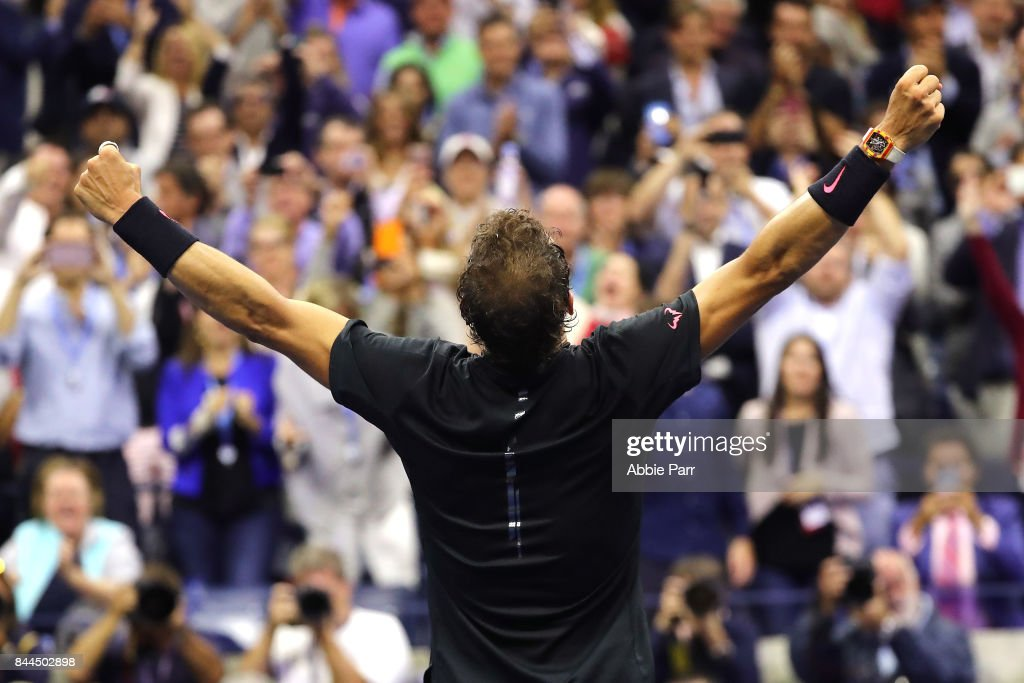 Rafael Nadal of Spain celebrates after defeating Juan Martin del Potro of Argentina in their Men's Singles Semifinal match on Day Twelve of the 2017 US Open at the USTA Billie Jean King National Tennis Center on September 8, 2017 in the Flushing neighborhood of the Queens borough of New York City. Rafael Nadal defeated Juan Martin del Potro in the fourth set with a score of 4-6, 6-0, 6-3, 6-2.