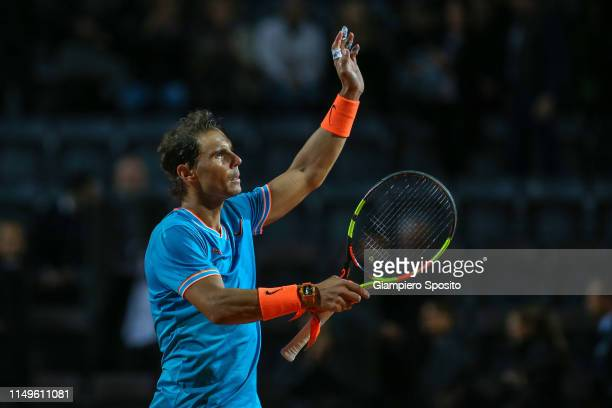 Rafael Nadal of Spain celebrates after defeating Nikoloz Basilashvili of Georgia in their Men's Singles Round of 16 match during Day Five of the...