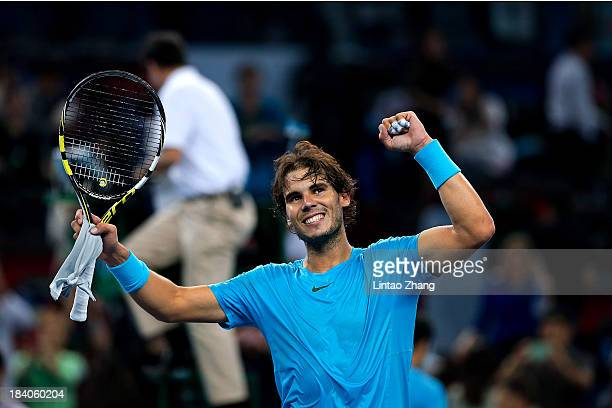 Rafael Nadal of Spain celebrates after defeating Stanislas Wawrinka of Switzerland during day five of the Shanghai Rolex Masters at the Qi Zhong...