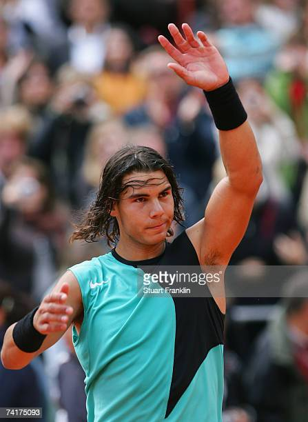 Rafael Nadal of Spain celebrates after his match against Ogor Andreev of Russia during day four of the Tennis Masters Series Hamburg at Rothenbaum...