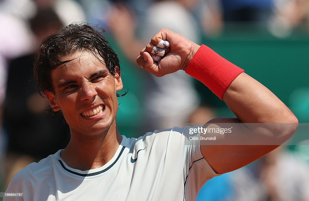 Rafael Nadal of Spain celebrates after his straight sets victory against Philipp Kohlschreiber of Germany in their third round match during day five of the ATP Monte Carlo Masters,at Monte-Carlo Sporting Club on April 18, 2013 in Monte-Carlo, Monaco.