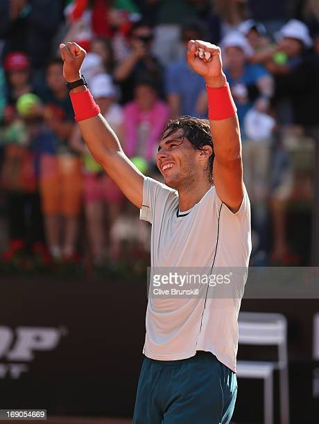 Rafael Nadal of Spain celebrates after his straight sets victory against Roger Federer of Switzerland in their final match during day eight of the...