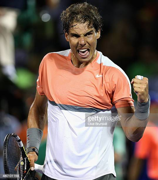 Rafael Nadal of Spain celebrates after his straight sets victory against Lleyton Hewitt of Australia during their second round match during day 6 at...