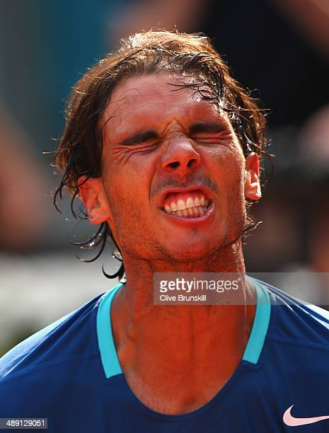 Rafael Nadal of Spain celebrates after his straight sets victory against Roberto Bautista Agut of Spain in their semi final match during day eight of...