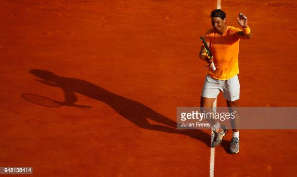 Rafael Nadal of Spain celebrates after victory in his Mens Singles match against Aljaz Bedene of Slovenia at MonteCarlo Sporting Club on April 18...