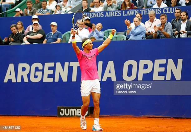 Rafael Nadal of Spain celebrates after wining the singles final match between Rafael Nadal of Spain and Juan Monaco of Argentina as part of ATP...