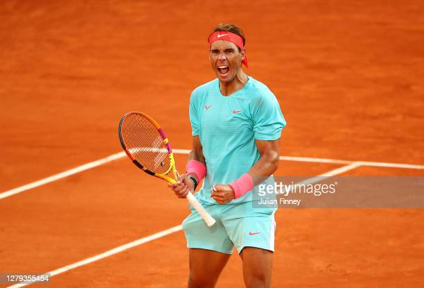 Rafael Nadal of Spain celebrates after winning a point during his Men's Singles semifinals match against Diego Schwartzman of Argentina on day...