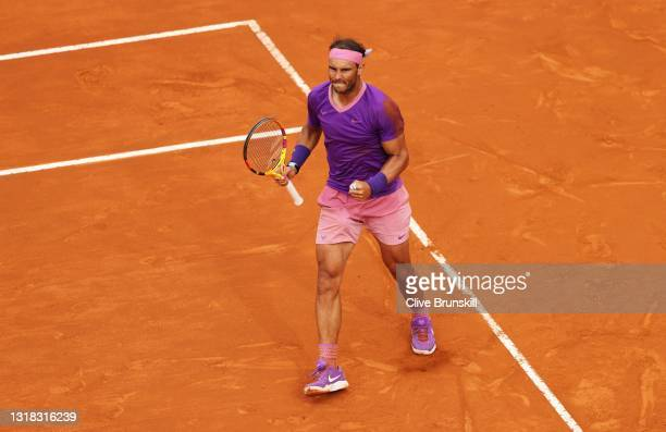 Rafael Nadal of Spain celebrates after winning a point over Novak Djokovic of Serbia during the men's final at Foro Italico on May 16, 2021 in Rome,...