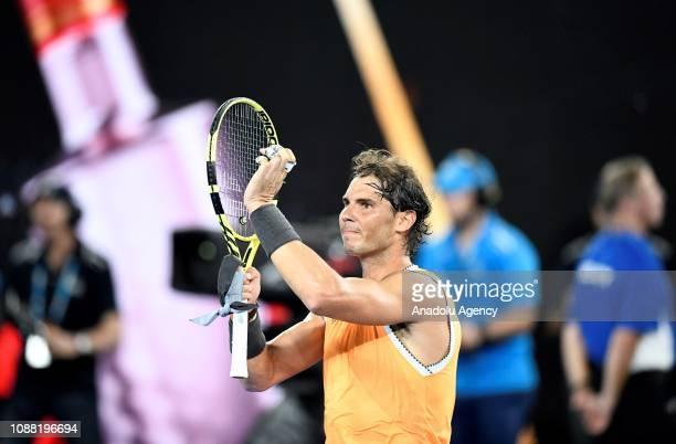 Rafael Nadal of Spain celebrates after winning Australian Open 2019 Men's Singles match against Stefanos Tsitsipas of Greece in Melbourne Australia...