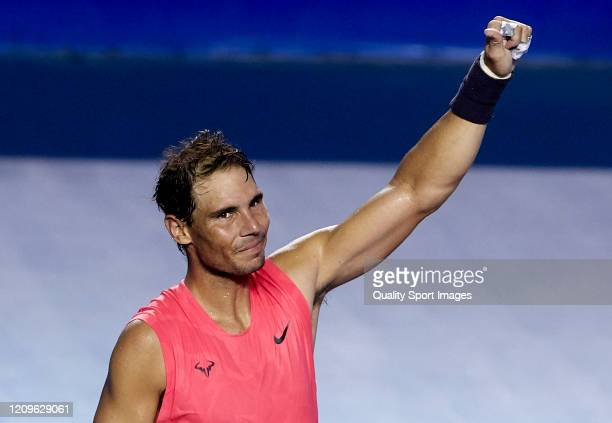 Rafael Nadal of Spain celebrates after winning championship point in his Men's Singles Final match against Taylor Fritz of United States during day...