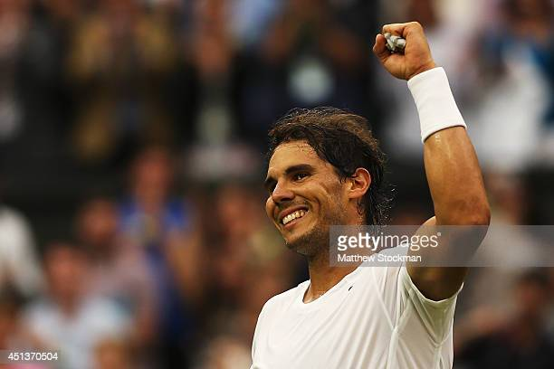 Rafael Nadal of Spain celebrates after winning his Gentlemen's Singles third round match against Mikhail Kukushkin of Kazakhstan on day six of the...