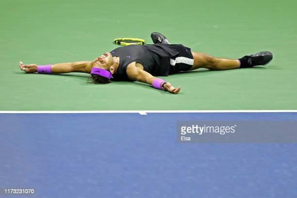 Rafael Nadal of Spain celebrates after winning his Men's Singles final match against Daniil Medvedev of Russia on day fourteen of the 2019 US Open at...