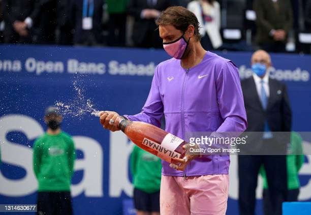 Rafael Nadal of Spain celebrates after winning his Men's Singles final match against Stefanos Tsitsipas of Greece on day seven of the Barcelona Open...