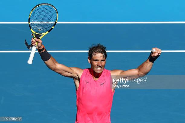 Rafael Nadal of Spain celebrates after winning his Men's Singles third round match against Pablo Carreno Busta of Spain on day six of the 2020...