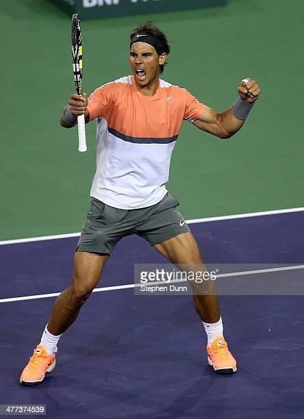 Rafael Nadal of Spain celebrates after winning match point against Radek Stepanek of the Czech Republic during the BNP Paribas Open at Indian Wells...