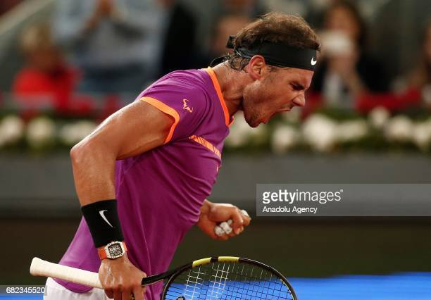 Rafael Nadal of Spain celebrates after winning the ATP Masters 1000 Open men's quarter final tennis match against David Goffin of Belgium within the...
