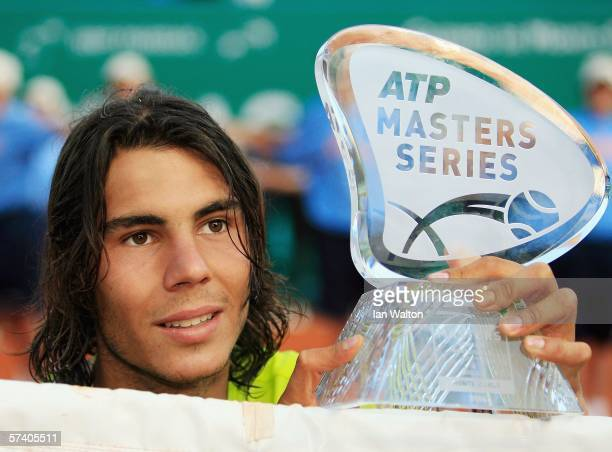 Rafael Nadal of Spain celebrates after winning the final of the Rolex ATP Tennis Masters Monte Carlo at the The Monte Carlo Country Club on April 23...