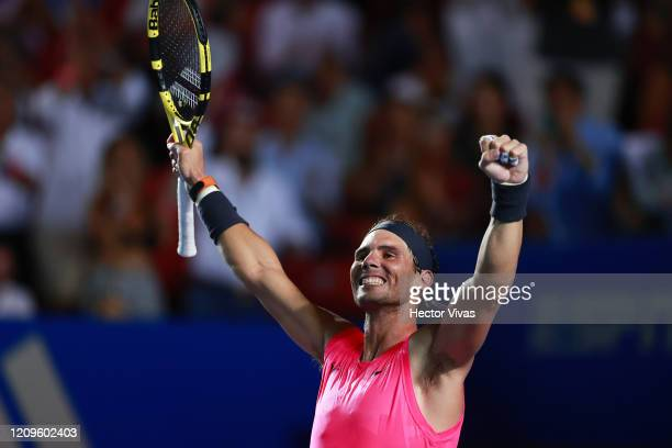 Rafael Nadal of Spain celebrates after winning the final singles match against Taylor Fritz of the United States during Day 6 of the ATP Mexican Open...