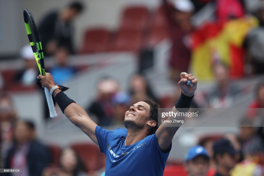 Rafael Nadal of Spain celebrates after winning the Men's singles Quarterfinals match against John Isner of the United States on day seven of 2017 China Open at the China National Tennis Centre on October 6, 2017 in Beijing, China.