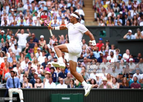 Rafael Nadal of Spain celebrates after winning the third set in his Men's Singles second round match against Nick Kyrgios of Australia during Day...