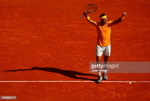 Rafael Nadal of Spain celebrates at match point against Kei Nishikori of Japan during day eight of ATP Masters Series Monte Carlo Rolex Masters at...