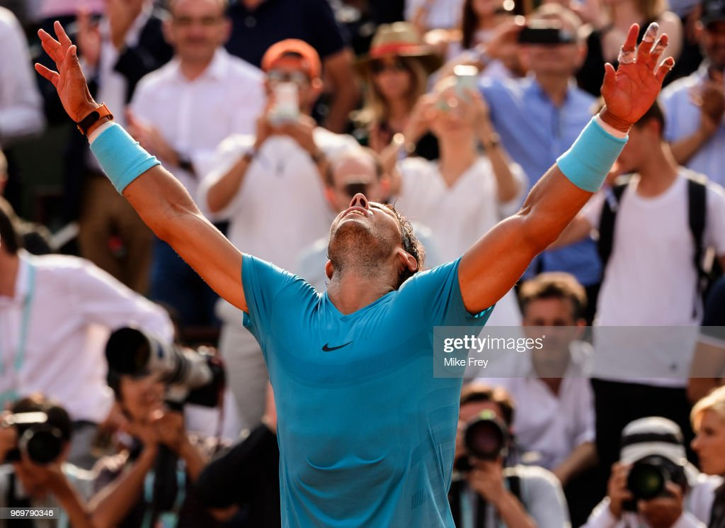 Rafael Nadal of Spain celebrates beating Juan Martin Del Porto of Argentina 6-4 6-1 6-2 in the semifinals of the men's singles at Roland Garros during the French Open on June 8, 2018 in Paris, France.