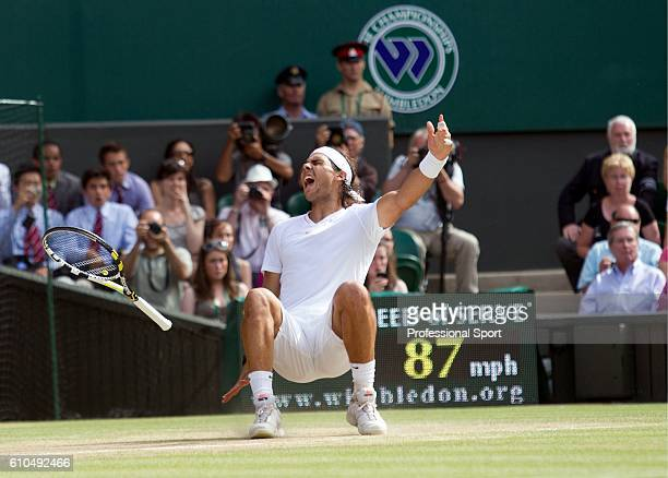 Rafael Nadal of Spain celebrates Championship Point during the Men's Singles Final against Tomas Berdych of Czech Republic on Day Thirteen of the...