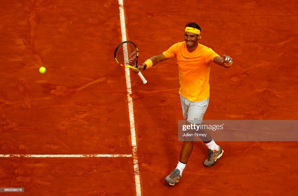 Rafael Nadal of Spain celebrates defeating Alexander Zverev of Germany in the final during day eight of the Internazionali BNL d'Italia 2018 tennis at Foro Italico on May 20, 2018 in Rome, Italy.