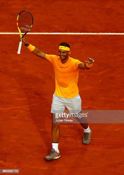 Rafael Nadal of Spain celebrates defeating Alexander Zverev of Germany in the final during day eight of the Internazionali BNL d'Italia 2018 tennis...