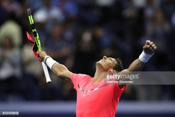 Rafael Nadal of Spain celebrates defeating Andrey Rublev of Russia after their Men's Singles Quarterfinal match on Day Ten of the 2017 US Open at the...