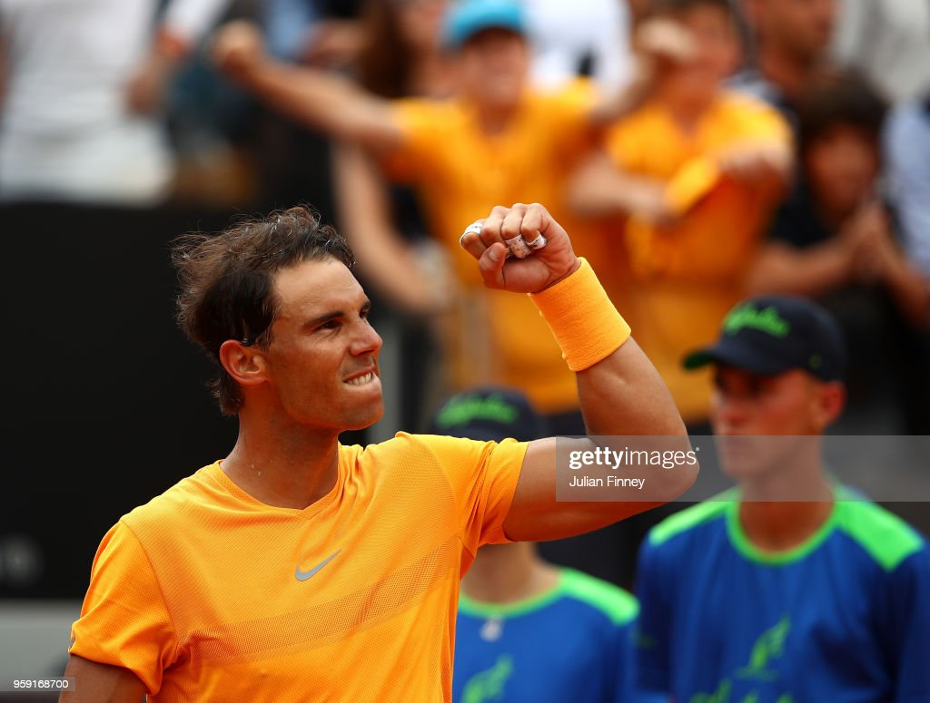 Rafael Nadal of Spain celebrates defeating Damir Dzumhur Bosnia during day four of the Internazionali BNL d'Italia 2018 tennis at Foro Italico on May 16, 2018 in Rome, Italy.