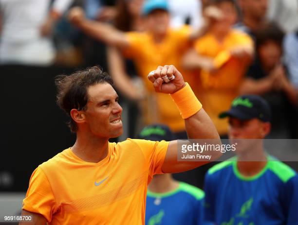 Rafael Nadal of Spain celebrates defeating Damir Dzumhur Bosnia during day four of the Internazionali BNL d'Italia 2018 tennis at Foro Italico on May...