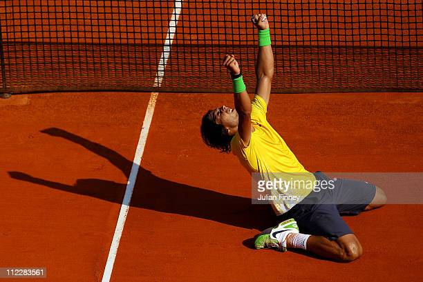 Rafael Nadal of Spain celebrates defeating David Ferrer of Spain in the final during Day Eight of the ATP Masters Series Tennis at the Monte Carlo...
