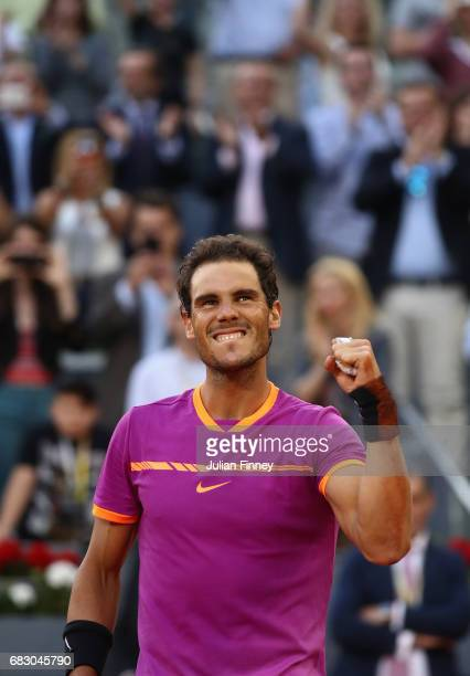 Rafael Nadal of Spain celebrates defeating Dominic Thiem of Austria in the final during day nine of the Mutua Madrid Open tennis at La Caja Magica on...