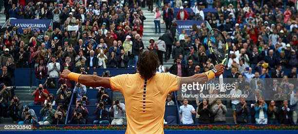 Rafael Nadal of Spain celebrates defeating Fabio Fognini of Italy during day five of the Barcelona Open Banc Sabadell at the Real Club de Tenis...