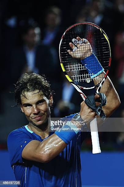 Rafael Nadal of Spain celebrates defeating Ivan Dodig of Croatia during day fourth of the ATP Barcelona Open Banc Sabadell at the Real Club de Tenis...
