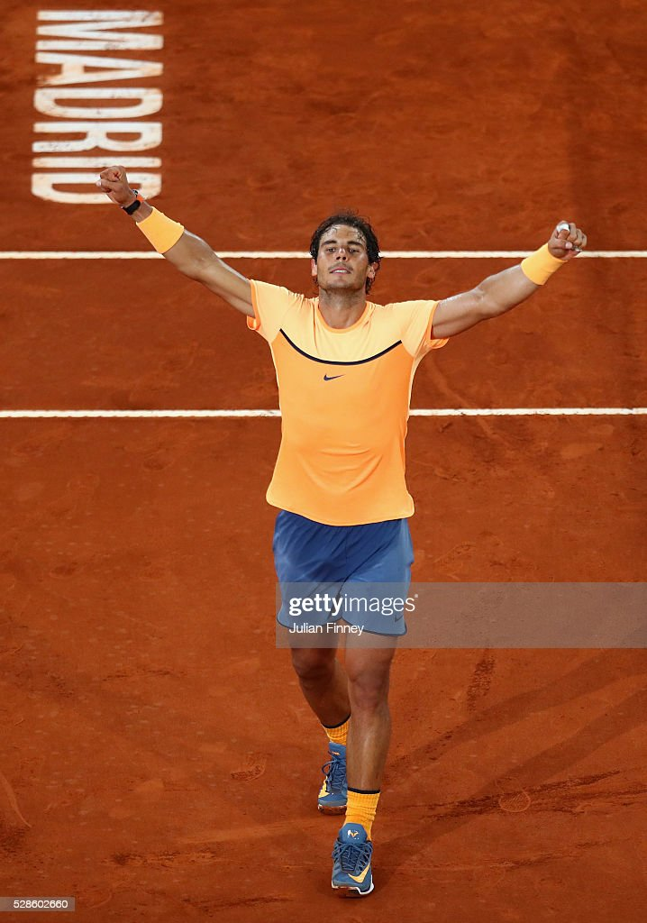 Rafael Nadal of Spain celebrates defeating Joao Sousa of Portugal during day seven of the Mutua Madrid Open tennis tournament at the Caja Magica on May 06, 2016 in Madrid, Spain.