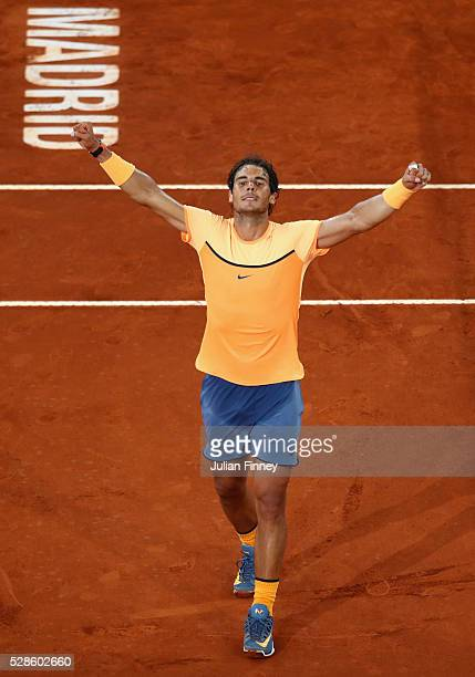 Rafael Nadal of Spain celebrates defeating Joao Sousa of Portugal during day seven of the Mutua Madrid Open tennis tournament at the Caja Magica on...