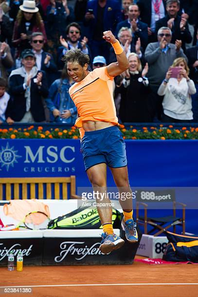 Rafael Nadal of Spain celebrates defeating Kei Nishikori of Japan in the final match during day seven of the Barcelona Open Banc Sabadell at the Real...