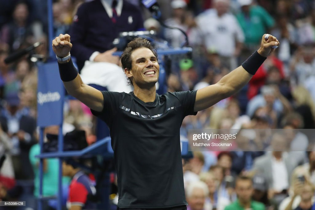 Rafael Nadal of Spain celebrates defeating Kevin Anderson of South Africa in their Men's Singles Finals match on Day Fourteen of the 2017 US Open at the USTA Billie Jean King National Tennis Center on September 10, 2017 in the Flushing neighborhood of the Queens borough of New York City. Rafael Nadal defeated Kevin Anderson in the third set with a score of 6-3, 6-3, 6-4.