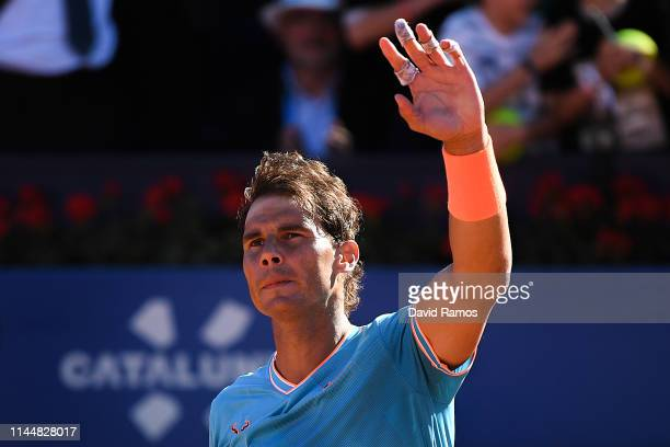 Rafael Nadal of Spain celebrates defeating Leonardo Mayer of the Argentina during the round of 32 match on day two of the Barcelona Open Banc...
