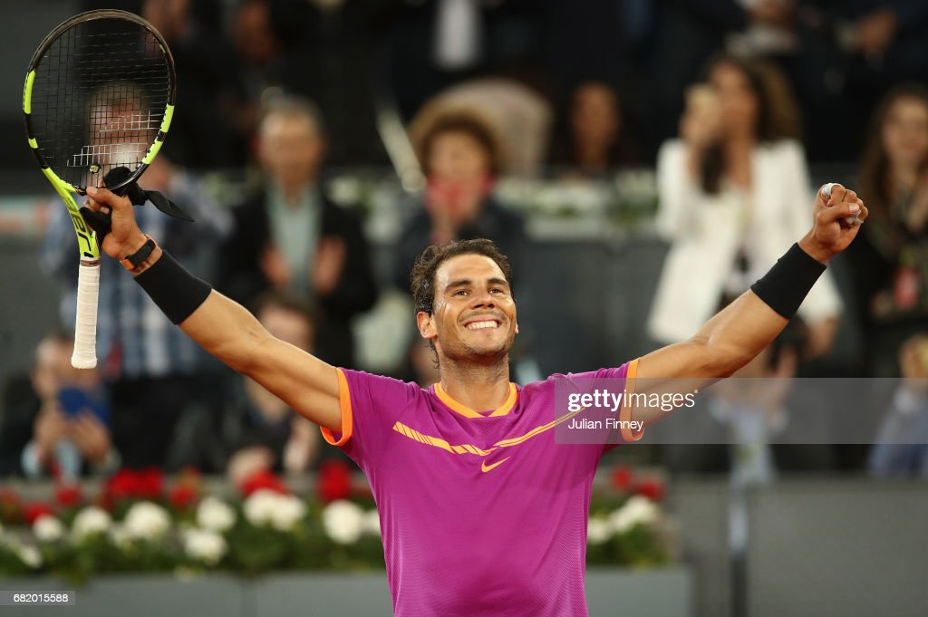 Rafael Nadal of Spain celebrates defeating Nick Kyrgios of Australia during day six of the Mutua Madrid Open tennis at La Caja Magica on May 11, 2017 in Madrid, Spain.