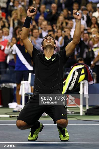 Rafael Nadal of Spain celebrates defeating Novak Djokovic of Serbia to win the men's singles final on day fifteen of the 2010 US Open at the USTA...