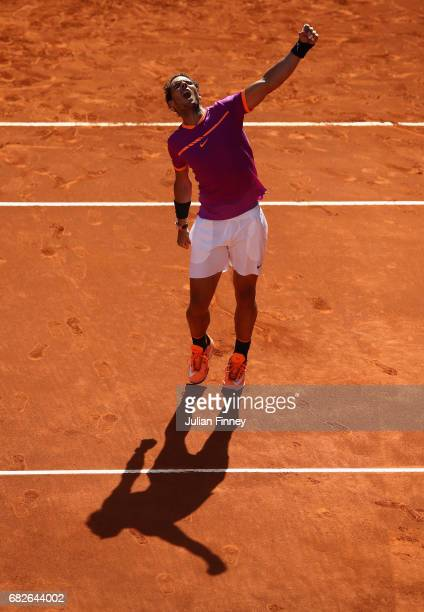 Rafael Nadal of Spain celebrates defeating Novak Djokovic of Serbia in the semi finals during day eight of the Mutua Madrid Open tennis at La Caja...