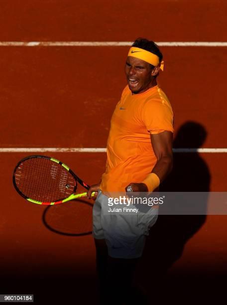 Rafael Nadal of Spain celebrates defeating Novak Djokovic of Serbia during day seven of the Internazionali BNL d'Italia 2018 tennis at Foro Italico...