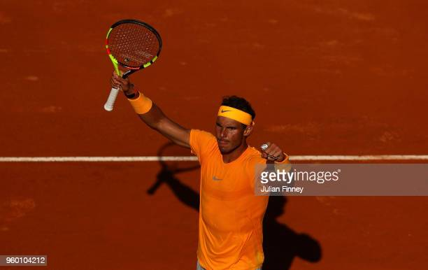 Rafael Nadal of Spain celebrates defeating Novak Djokovic of Serbia during day seven of the Internazionali BNL d'Italia 2018 tennis at Foro Italico...