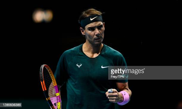 Rafael Nadal of Spain celebrates during his match against Andrey Rublev of Russia during Day 1 of the Nitto ATP World Tour Finals at The O2 Arena on...