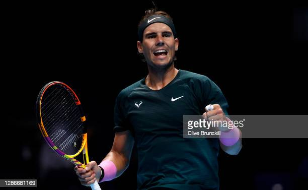 Rafael Nadal of Spain celebrates during his singles match against Stefanos Tsitsipas of Greece during day five of the Nitto ATP World Tour Finals at...