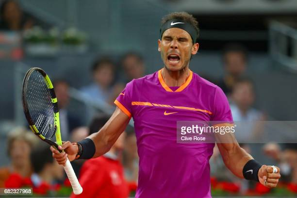 Rafael Nadal of Spain celebrates during in his match against David Goffin of Belguim during day six of the Mutua Madrid Open tennis at La Caja Magica...