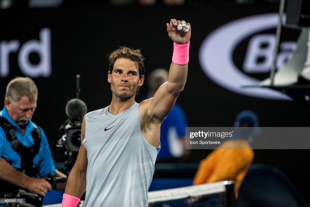 Rafael Nadal of Spain celebrates during the 2018 Australian Open on January 15, 2018, at Melbourne Park Tennis Centre in Melbourne, Australia.